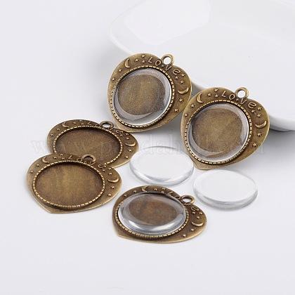 25mm cabochons en verre transparent et idées de cadeaux de la Saint-Valentin en alliage coeur sculpté mot amour pendentif cabochon lunette supportsDIY-F007-06AB-NF-1