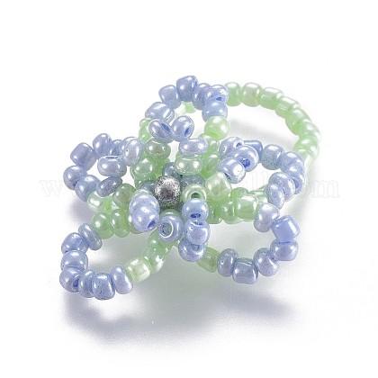 Semilla de vidrio con cuentas anillos elásticosRJEW-JR00252-02-1