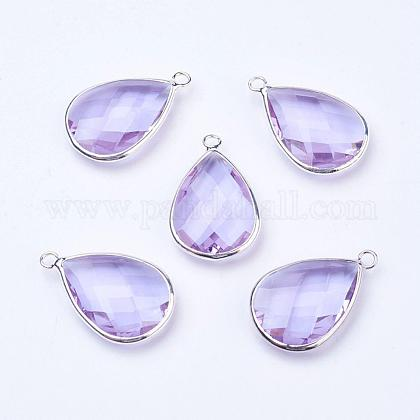 Silver Color Plated Brass Glass Teardrop Pendants, Faceted, Azure, 18x10x5mm, Hole: 2mm GLAA-M006-A-14S