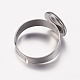 Adjustable 304 Stainless Steel Finger Rings Components STAS-I097-037E-P-3