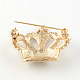 Crown Women's Light Gold Plated Alloy Rhinestone Brooches X-JEWB-R011-13-3