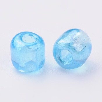 LightCyan Glass Seed Beads, Trans. Colours Lustered, Round, LightCyan, 4mm, Hole: 1.5mm; about 4500pcs/pound