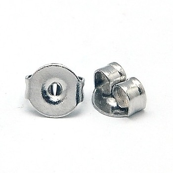 Earrings Findings Original Color Stainless Steel Ear Nuts, Earring Backs, 5x4x2.5mm, Hole: 1mm
