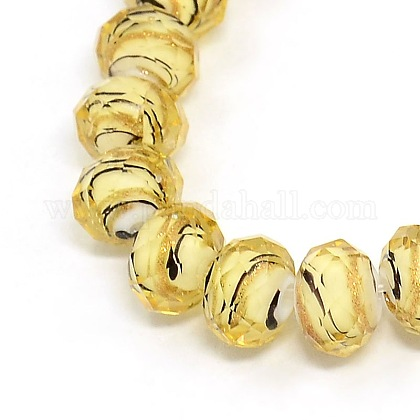Handmade Faceted Swirl Gold Sand Lampwork Rondelle Beads Strands LAMP-L034-06-1