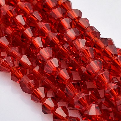 Faceted Bicone Glass Beads StrandsX-EGLA-P017-4mm-07-1
