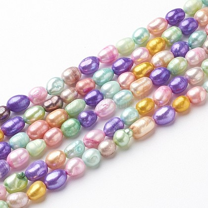Perlas de agua dulce cultivadas naturales teñidasX-PEAR-R007-5~6mm-1