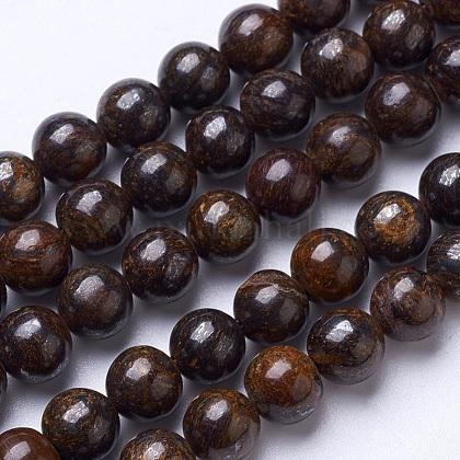 Natural Bronzite Beads StrandsG-D855-12-8mm-1