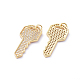 Brass Micro Pave Cubic Zirconia Pendants, with Jump Rings, Long-Lasting Plated, Key, Clear, Golden, 29x13.5x2mm, Hole: 4mm