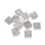 Tibetan Style Alloy Links connectors, Rhombus, Lead Free and Cadmium Free, Antique Silver Color, Size: about 15mm long, 15mm wide, 1.5mm thick, hole: 1.5mm