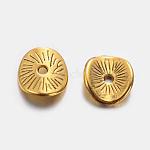 チベットスタイルのウェーブスペーサービーズ, 無鉛の, アーチ型ディスク, アンティーク黄金, 9x1mm, 穴:1mm