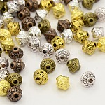 Tibetan Style Bicone Spacer Beads, Cadmium Free & Nickel Free & Lead Free, Mixed Color, 6.5x7.5mm, Hole: 1mm; about 320pcs/200g
