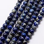Natural Lapis Lazuli Beads Strands, Round, 8mm, Hole: 1mm, about 48pcs/strand, 15.5inches(39cm)
