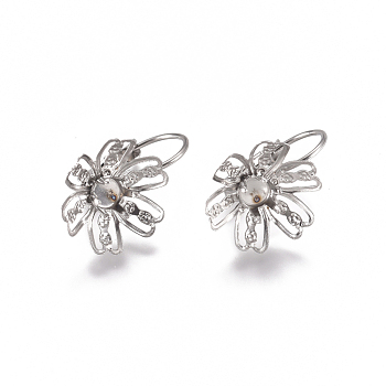 304 Stainless Steel Leverback Earring Findings, Flower, Stainless Steel Color, 22x14x13~14mm; Tray: 4mm, Pin: 0.8mm