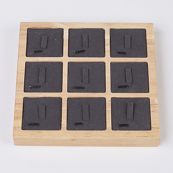 Black Wood Ring Displays, with Faux Suede, 9 Compartments, Square, Black, 15x15x1.8cm