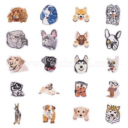 Cachorro de tela de bordado computarizado en parchesDIY-WH0083-02-1