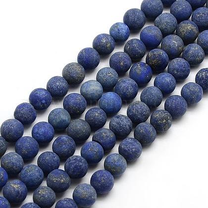 Chapelets de perle ronde en lapis-lazuli mat naturelG-M064-8mm-08-1