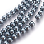 Glass Pearl Beads Strands, Pearlized, Round, Gray, 4mm, Hole: 0.8~1mm, about 216pcs/strand, 32