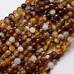 Chapelets de perles en agate à rayures naturelles/agates à bandes, facette, teinte, ronde, marron, 6mm, Trou: 1mm