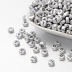 Silver Color Plated Acrylic Beads, Flat Round with Mixed Letter, 7x3.5mm, Hole: 1mm, about 3600pcs/500g