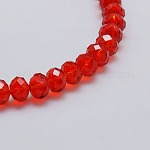 Transparent Glass Bead Strands, Faceted, Rondelle, Red, 8x6mm, Hole: 1mm; about 68~70pcs/strand, 17.3