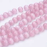 Cat Eye Beads, Round, Pink, 4mm, Hole: 0.8mm; about 93~95pcs/strand