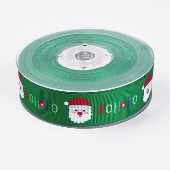Cintas del grosgrain poliéster impresa, tema de la Navidad, santa claus, verde, 1 pulgada (25 mm); alrededor de 100 yardas / rollo (91.44 m / rollo)