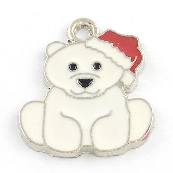 Tragen Legierungsemailleanhänger, Thema Weihnachten, Platin Farbe, creme-weiß, 24.5x21x2 mm, Bohrung: 2 mm