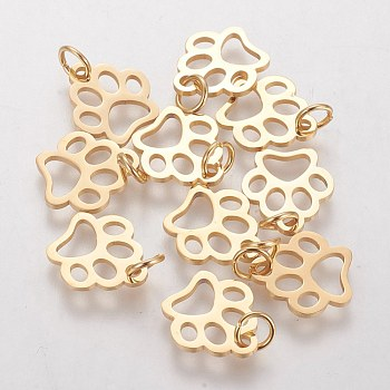 304 Stainless Steel Pendants, Dog Paw Prints, Golden, 13x12x1mm, Hole: 4mm