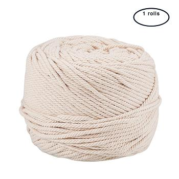 Cotton String Threads for Jewelry Making, Macrame Cord, Navajo White, 4mm; 100m/roll