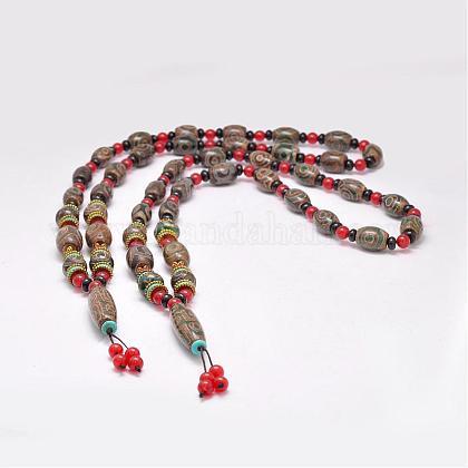 Buddhist Jewelry Natural Tibetan Agate Beaded NecklacesNJEW-F131-02-1