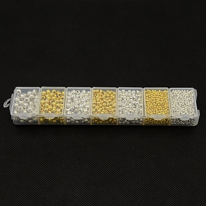 1 de hierro caja de color mezclado redondas abalorios entrepiezaasIFIN-X0002-01-B-1