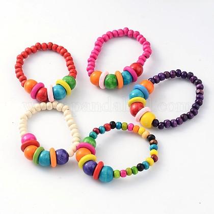Niños pulseras pulseras elásticas de abalorios de maderaBJEW-JB02046-1