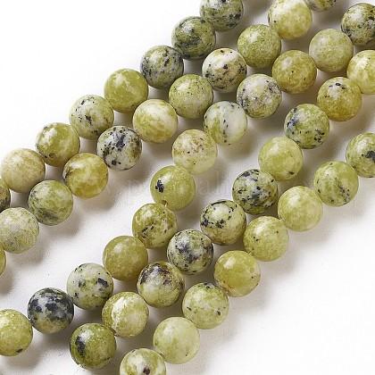 Chapelets de perles en turquoise jaune naturelleG-Q462-8mm-22-1