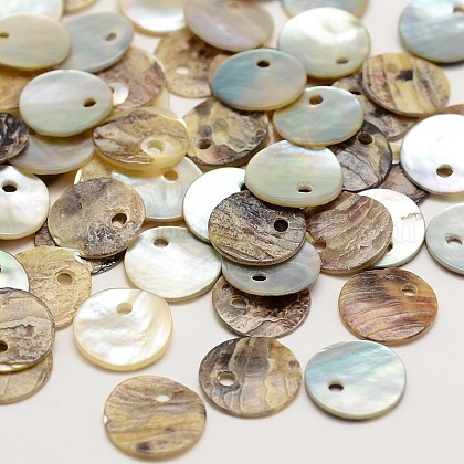 Flat Round Natural Akoya Shell Charms SHEL-N031-14-1