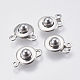 304 Stainless Steel Snap Clasps, Round, Stainless Steel Color, 15x9.5x5mm, Hole: 1mm and 2mm