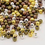 Mixed Iron Round Spacer Beads, Mixed Color, 3.2x3mm, Hole: 1.2mm; about 3636pcs/200g