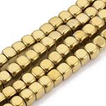 Electrochapa no-granos de hematites sintético -magnéticos hebras, cubo, oro chapado, 4x4x4mm, agujero: 2 mm; aproximamente 105 unidades / cadena, 15.7