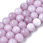 Natural Chalcedony Beads Strands, Dyed & Heated, Imitation Kunzite Color, Round, Plum, 8.5x8mm, Hole: 1mm; about 49pcs/strand, 15.47''