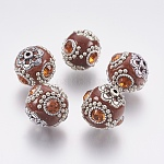 Handmade Polymer Clay Rhinestone Indonesia Beads, with Brass Cores, Round, Antique Silver, Saddle Brown, 18~20mm, Hole: 2mm