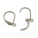 Accessoires de boucle d'oreille de dormeuse en 304 acier inoxydable, avec boucle, couleur inoxydable, 15x10x1.5mm, Trou: 1.5mm