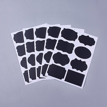 黒板のステッカーラベル  粘着ステッカー  キッチンパントリー家庭用ボトルとオフィスラベルステッカー  ブラック  15.6x11.5x0.02cm