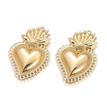 Pendente in lega, cuore di fiamma santa, oro, 40x25x3.5mm, Foro: 1.5 mm