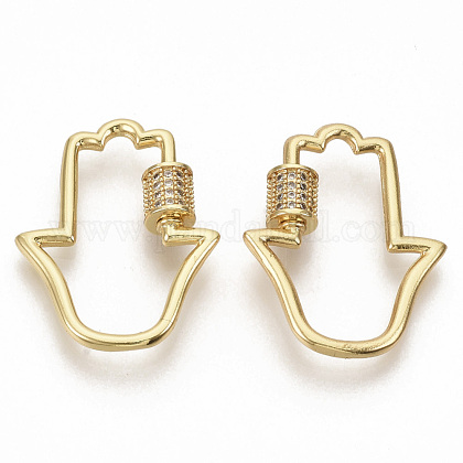 Brass Micro Pave Clear Cubic Zirconia Screw Carabiner Lock Charms ZIRC-S066-004-1