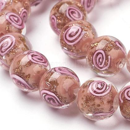 Handmade Gold Sand Lampwork Beads StrandsLAMP-L072-G05-1