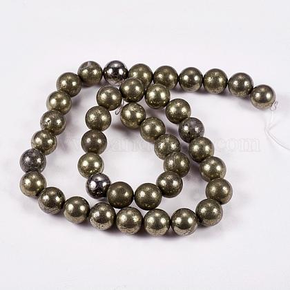 Natural Pyrite Beads StrandsG-L031-10mm-01-1