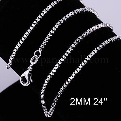 Brass Box Chain Necklace MakingNJEW-BB10859-24-1