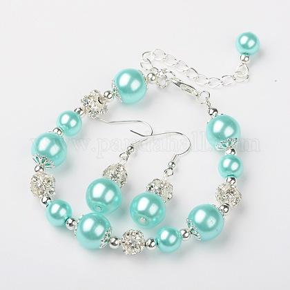 Glass Pearl Jewelry Sets: Earrings & BraceletsSJEW-JS00742-06-1