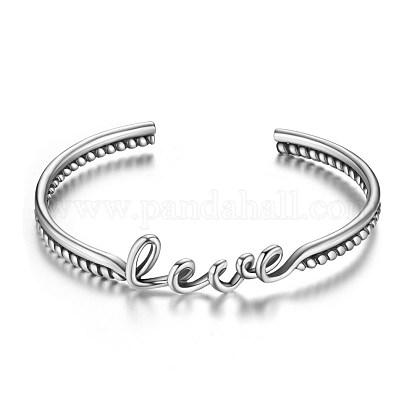 Shegrace® impresionante 925 brazaletes de brazalete de plata esterlina palabra amorJB368A-1