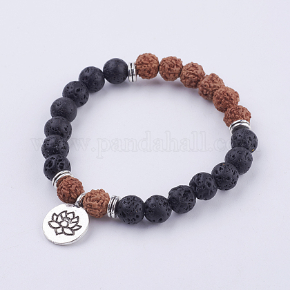 Lotus Charm Wood and Lava Bead Stretch Bracelet