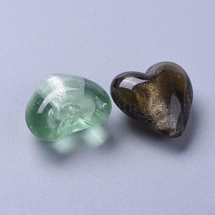 手作り銀箔ガラスビーズSLH20MMY-1-1